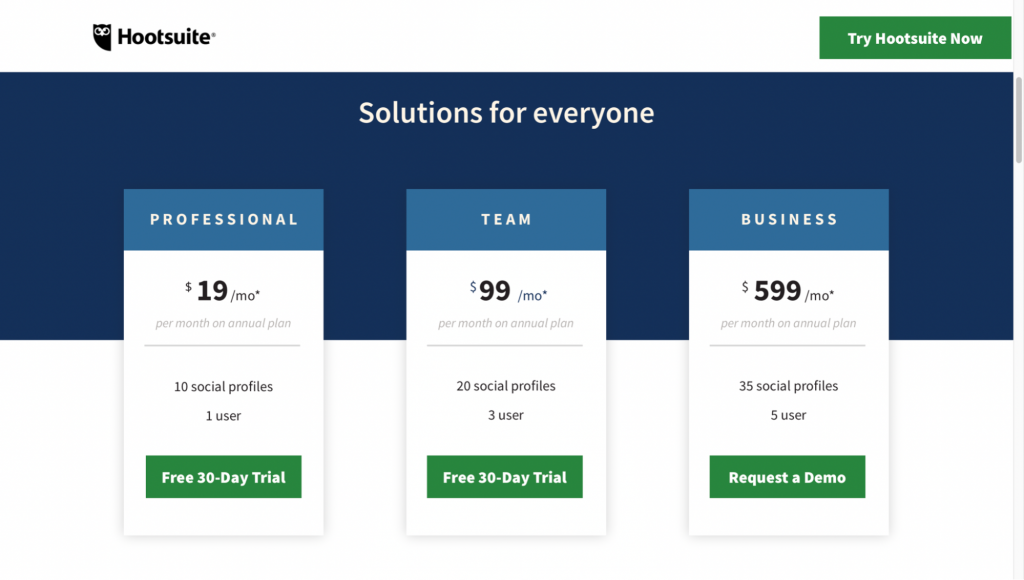 Hootsuite - Pricing